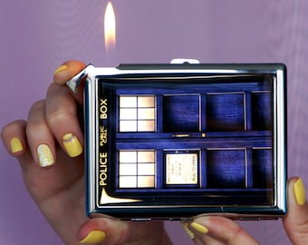 Cigarette case, Doctor Who TARDIS, Chrome Lighter, unusual lighters, Lighter