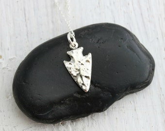 Arrowhead Necklace - Sterling Silver Arrowhead Charm Necklace - Arrow Necklace - Arrow Head Pendant - Boho Tribal Necklace - Tribal Jewelry