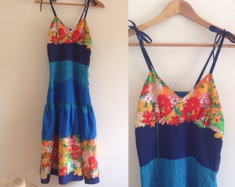 Vintage floral summer dress 70s