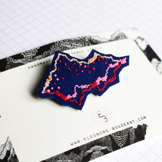 """sales - Embroidered brooch """" Precious landscape no17 """""""