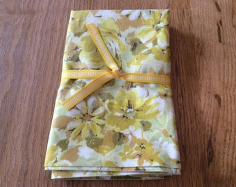 Vintage avocado green and yellow floral pillowcase