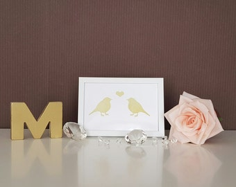Gold lovebirds print