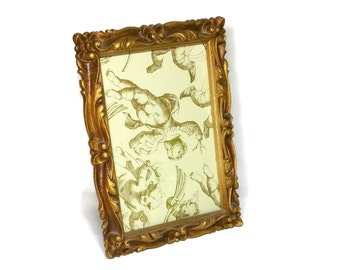Vintage Gold Frame 5x7 Ornate Frame for Tabletop Shabby Chic Scrolly Syroco Style Standing Frame 2 Available