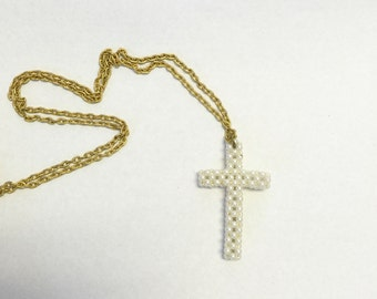 Vintage Pearl Cross Pendant, Vintage Gold Pearl Cross Necklace, Religious Jewelry