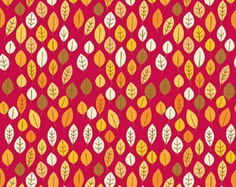 "Riley Blake designs  ""Happy Harvest"" Leaves  Doodlebug designs  Red Cotton Fabric  Remnant"