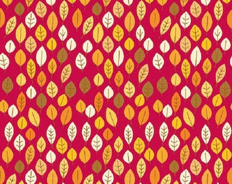 "Riley Blake designs  ""Happy Harvest"" Leaves  Doodlebug designs  Red Cotton Fabric  Sold"
