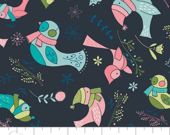Winter Wonderland- Birds in Dark Blue By Heather Rosas For Camelot Fabrics Cotton Fabric