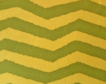 "FreeSpirit  ""Utopia""   Wavy Chevron     Premium Cotton Fabric - green    BTY"