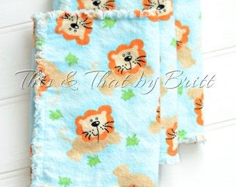 Little Lion- Baby Flannel Burp Cloth- Ragged Edge Burp Cloth- Set of 3 Burp Cloths *SALE*