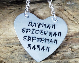 Hand Stamped Super Maman Pendant