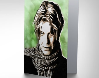 David Bowie Card - Painting Portrait Pop Star Musician David Bowie Blank Card CP2530