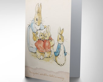 Helen Beatrix Potter Now My Dears Peter Rabbit Art Greetings Card CP1984