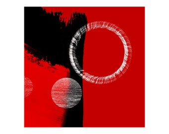 Red & Black Modern Abstract Print - Simplistic Style With Circles, Affordable Fine Art For Interior Home And Commercial Decor