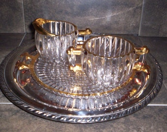 Stunning Jeanette Glass Sugar Bowl, Creamer and Serving Tray