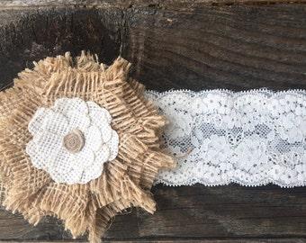 Burlap Headband & Ivory Lace Band