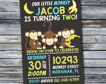 Monkey Invitation / Little Monkey Birthday Invitation (Personalized) Digital Printable File