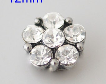 12mm 6 White Crystals Snap