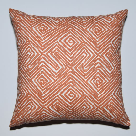 Decorative Pillow Cover Orange Off White Invisible Zipper