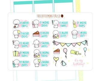 birthday countdown stickers  ( planner stickers )