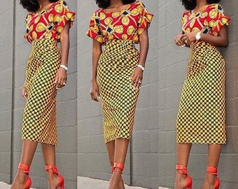 African print Ankara midi length pencil skirt