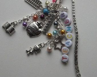 Teacher gift metal beaded bookmark with Tibetan silver school themed charms
