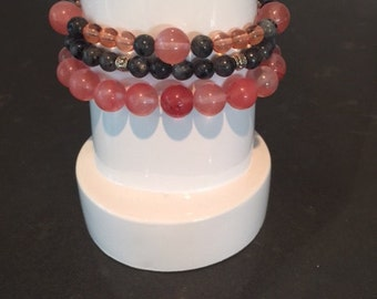Coral Pink and Labradorite Bracelet Set