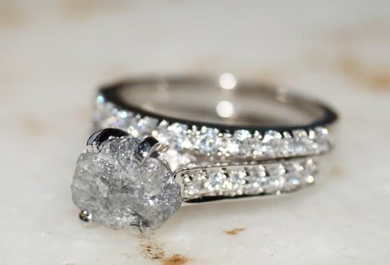 Raw Diamond Ring Gray White Diamond Ring Diamond Ring