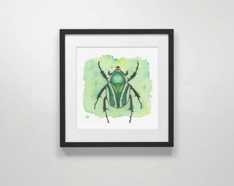 watercolor print, beetle painting, green wall art, entomology, cool wall art, 5x5 print, 8x8 print,