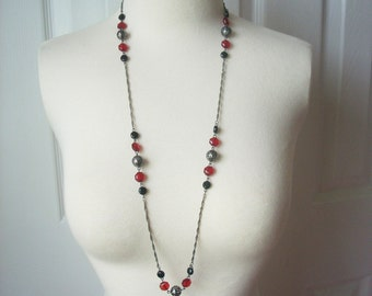 Red black beads necklace jewelry, summer jewelry, hand made jewelry, necklace, gifr idea