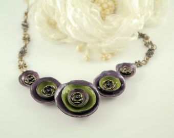Purple green clay necklace clay flower necklace polymer clay necklace beaded necklace handmade necklace clay jewelry nature necklace