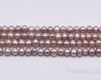 4-5mm small mauve pearl, lavender potato pearls, natural color freshwater loose pearl strand on sale, good luster pearl supply, FP250-LS