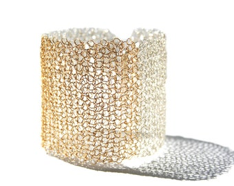 Gold and silver wide lace crochet cuff bracelet, statement wire mesh bangle, handmade jewelry