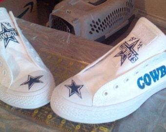 Dallas Cowboys Custom Converse Tennis Shoe (Bling and Graphic Glitter Vinyl)