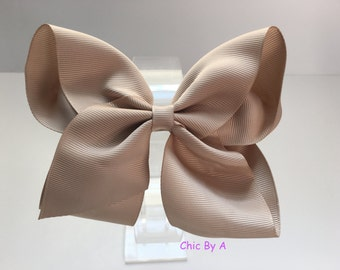 Taupe Hair Bow, Classic Boutique Hairbow - Baby Toddler Girl - Solid Color Basic Hairbows