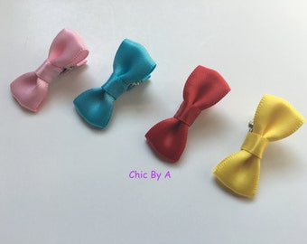 Mini bow,Bowtie bow,Satin Hair Bow,Red,White,Yellow,Light Pink,Navy Blue,Baby Hair Bow,Bow,Girls Hair Clip,Baby Hair Clip,Bow Hair Clip