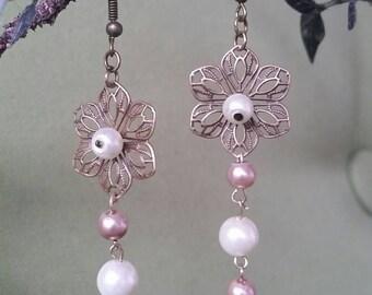 Handmade Flower Pearl Drop Earrings
