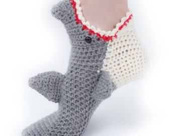Women's Shark Socks CROCHET Pattern, INSTANT DOWNLOAD pdf File, Sizes 5/6, 7/8 and 9/10 included
