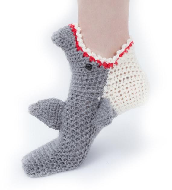 Womens Shark Socks CROCHET Pattern INSTANT DOWNLOAD pdf