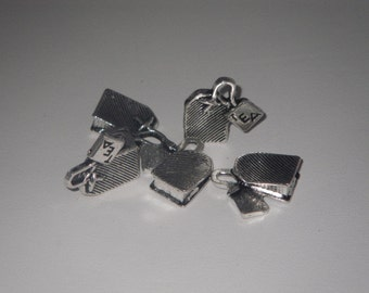 Charms teabag metal silver 5 pieces