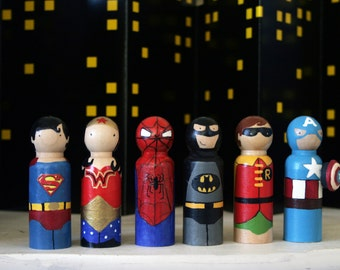 "2 3/8"" Superhero Peg doll set"