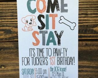 Puppy Themed Birthday Party Invitation