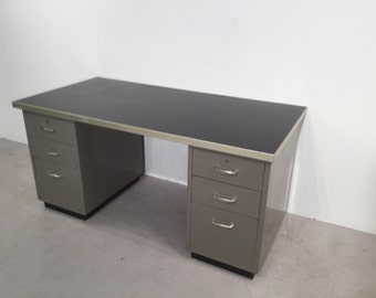 Vintage Roneo Steel Drawered Desk
