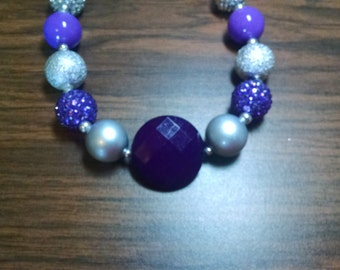 Deep Purple and Silver Everyday Toddler Bubblegum Necklace