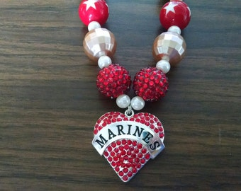 Marines Heart Toddler Girls Bubblegum Necklace.  Marines Scarlet and Gold Gumball Necklace