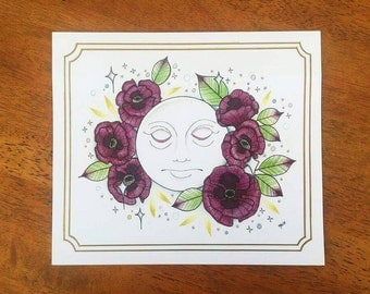 Moon and Poppies print