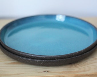 Set of 2 Turquoise Blue Ceramic Plates – Handmade Pottery Plates – Dinner Plates – Ceramic Plate Set
