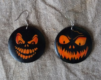 Earrings Halloween party Boo. Halloween decor.Medical steel. Gift for her. Painting Wood Jewelry. Painting jewelry
