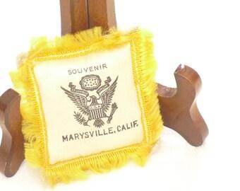 Vintage World War II Satin Ring Pillow, Travel Souvenir, Marysville, CA, Camp Beale, Family Heirloom, Gift Keepsake, 1940s Military Artifact