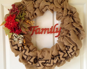 Thanksgiving Burlap Wreath, Autumn Wreath, Fall Wreath