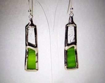 Hand - stained glass - made earrings